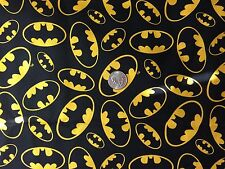 BATMAN Bat Signal on Black Super Hero Quilt Fabric Novelty Fat Quarter FQ FQs