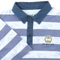 "Ashworth Men XXL 45"" PGA Golf Club Polo Shirt Blue Stripe Angel Cotton Blend"