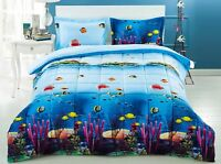 HIG 3D Wildlife Fish And Sea Printed Box Stitched Soft Breathable Comforter Set