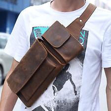 Genuine Leather Man Bag Cross body Messenger Sling Chest Pack Backpack Vintage