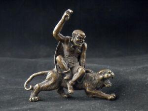 Excellent Antique Tibetan Brass Hand Made *Arhat On Tiger* Statue B125