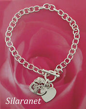 "Quinceanera Bracelet Sterling Silver 7"" 15 Anos"