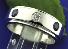 14k Solid White gold  Mens men's Natural Sapphire & Diamond ring 3 stone 0.75 ct