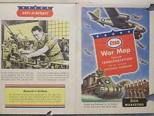 1942 circa ESSO WAR MAP  WORLD WAR II TRANSPORTATION KEY TO VICTORY