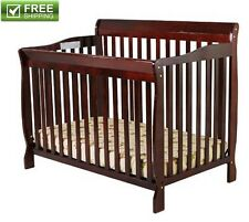 Convertible Baby Bed 5-in-1 Full Size Crib Cherry Nursery Bedroom Furniture New!