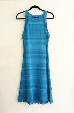 ROBERTO CAVALLI Turquoise Knit / Crochet Sweater Dress Sz 48 or M NWT $1595