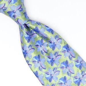Ermenegildo Zegna Selvedge Mens Silk Necktie Spring Green Blue Pink Floral Tie