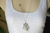 """SNOWFLAKE Holiday Christmas Charm Bead Cluster Silver tone Long Necklace 27"""" NWT"""