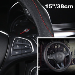 Universal Size Car Steering Wheel Cover 15''/38cm Durable PU Leather Non-slip