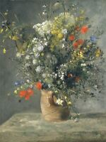 AUGUSTE RENOIR FRENCH FLOWERS VASE OLD ART PAINTING POSTER PRINT BB4890A