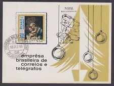 Brazil Sc 1147 used 1969 Christmas Souvenir Sheet with double cancel