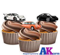 PRECUT Fun Car Porsche 12 Edible Cupcake Toppers Cake Decorations Birthday