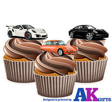 PRECUT Fun Car Porsche 12 Edible Cupcake Toppers Cake Decorations Birthday