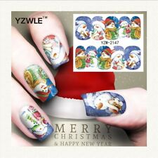 Nail Art Water Decals Stickers Christmas Blue Snowman Snow (A147)