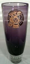 Haida Pacific Northwest Deep Purple Handmade Tribal Art Glass Vase With Bubbles