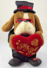 11 Inch Animated Plush Bulldog Sings My Girl Top Hat Tuxedo W/ Red Heart Brown