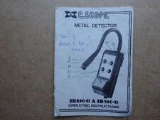 CSCOPE METAL DETECTOR TR850-D e TR950-D istruzioni operative.