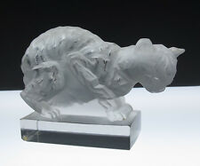 R. Lalique Chat Paperweight 1162 Cat Figurine c.1929 French Art Glass Rare Rene