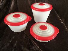 TUPPERWARE RED & SHEER ROUND MODULAR MATES STUFFABLES STUFFABLE MINI SET OF 3