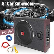 8'' 600 Watt Auto Untersitz Subwoofer Aktiv Bassbox mit Kabelset Kfz kompakt