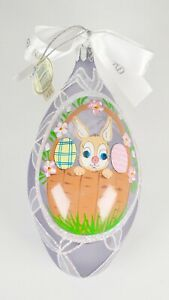 Waterford Holiday Heirloom Easter Ornament Glitter Glass Purple Bunny Egg 118462