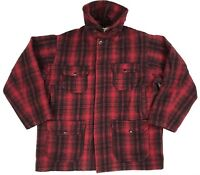 Woolrich Red Plaid Wool Hunting Jacket Coat Heavy Men's Size 44 XL Vintage