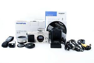 Olympus PEN E-P1 12.3 MP Digital Camera Silver w/17mm f/2.8 Lens vf-1 [Exc++]