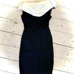Vintage 1960's Designer Off Shoulder Cocktail Wiggle Dress Size 8