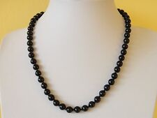 """Black Onyx Necklace Genuine Natural 8mm  21"""" Knotted 8 mm Black Onyx Beads"""