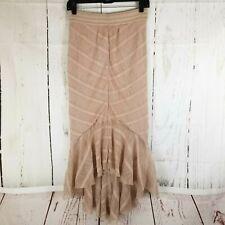 Free People Trumpet TuTu Skirt Women Sz XS Stretch Elastic Waist Nude Pink Hi Lo