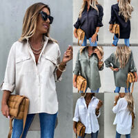 Women's Loose Shirt Turn-down Collar Blouse Tunic Office Plain Roll Sleeve Tops