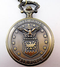 USA Air Force Pocket Watch & Chain Necklace Costume Jewelry Jewellery nwt