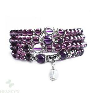 6mm New Amethyst 108 beads Bracelet handmade Gemstone Healin Reiki Mala