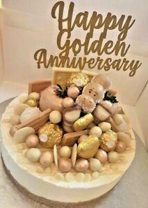 Cake Topper Happy Golden Anniversary 50th Gold Glitter  Card FREE UK P&P