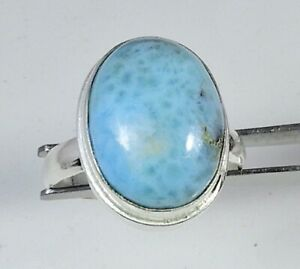 Natural Larimar Gemstone 925 Solid Sterling Silver Ring Size US 8 For Gift M074