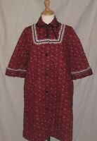 Vintage 60s 1960s Dress Robe Mod Baby Doll Quilted Paisley Print Red & White S/M