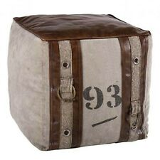 Quality Genuine Leather and Canvas Pouffe Footstool Square Vintage Retro Home 2