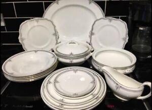 Antique Paragon Star Porcelain Dinner Set c. 1914 White With Black/Gold Pattern