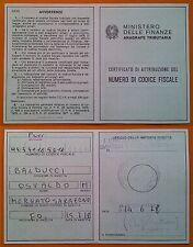 Ministero delle Finanze 1978 -  Certificato di attribuzione del Codice Fiscale