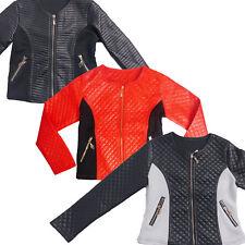 Kids Girls Black Faux Leather Look Jacket Ages 3 4 5 6 7 8 9 10 11 Coat Biker