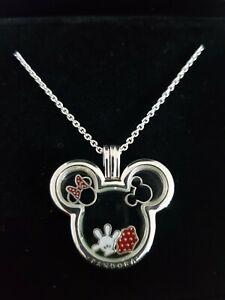 Pandora Disney Mickey Minnie Locket Necklace With 4 Petites
