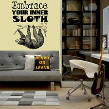Personalised Embrace Your Inner Sloth Vinyl Wall Art Quote Sofaworks Neil Neal Blue Medium