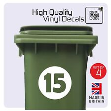 4 x WHEELIE BIN HOUSE NUMBER VINYL STICKERS CUSTOM MADE - ANY NUMBER / COLOUR