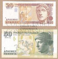 Greece 20 & 50 Drachma 2013 2014 UNC SPECIMEN Test Note Banknote Set - 2 pcs