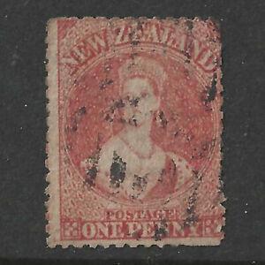 NEW ZEALAND 1864 1d CINNABAR, USED (NO WMK- ?)