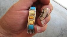 Authentic vintage Native American raised turquoise, mother-of-pearl and Ring Set