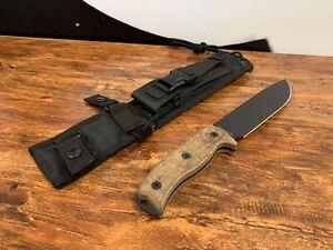 Ontario RAT-7 1095HC Steel Tan Micarta Handle Fixed Knife w/ Nylon Sheath 8668