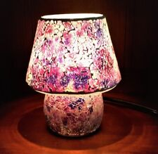 Lilac Purple Mosaic Glass Table Lamp 25W One Light UL Corded Electric