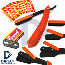 Professional Orange Wood Barber Hair Shaving Razor Folding Knife Straight Blades