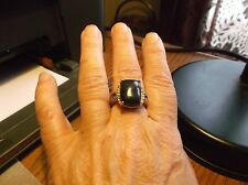 Huge 15Ct. Lapis Lazuli & White and Blue Austrian Crystal Ring Stainless Steel 8